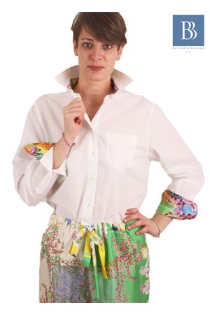 White cotton shirt with silk applications Laboratorio Capri | 6 | LAB142STAMPA ETRO