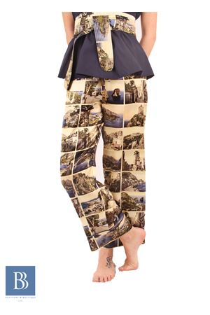 Pure silk trousers with print of vintage postcards Laboratorio Capri | 9 | LAB146CARTOLINE