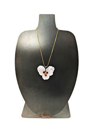 Collana in ottone smaltato con fiore bianco Laboratorio Capri | 35 | LAB152CIONDOLO GRANDE
