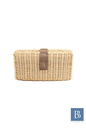 Clutch in midollino beige e grigia Laboratorio Capri | 31 | LAB156BEIGE GREY