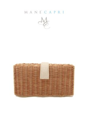 Clutch in midollino nera Laboratorio Capri | 31 | LAB156BIANCO/MARRONE