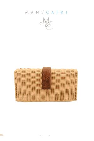 Clutch in midollino nera Laboratorio Capri | 31 | LAB156COGNAC