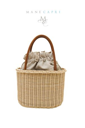 Pith handmade bag Laboratorio Capri | 31 | LAB158COGNAC E NATURALE