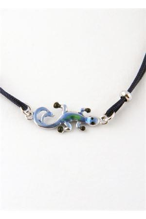 Bracciale in cotone con ciondolo Lucertola Azzurra di Capri Pierino Jewels | 36 | 3047ABLU