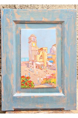 Oil painting on old door - Piazzetta of Capri island Antonio Palomba | 20000003 | PORTA PIAZZETTA46X62