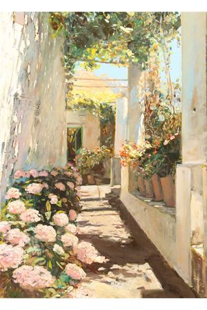 Oil on door depicting a typical Capri pergola Antonio Palomba | 20000003 | VIZIANA80X113