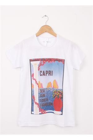 Cotton T-shirt Sea, Sun, Love and Faraglioni Aram V Capri | 8 | 1000002017AZZURRO