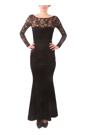 Long black dress with lace sleeves and bow detail Aram V Capri | 5032262 | MDFW16MLSPBNERO