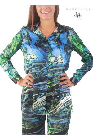 Camicia in seta con fantasia blu e verde Capri Chic | 6 | CAMICIA FORESTA BLUBLU