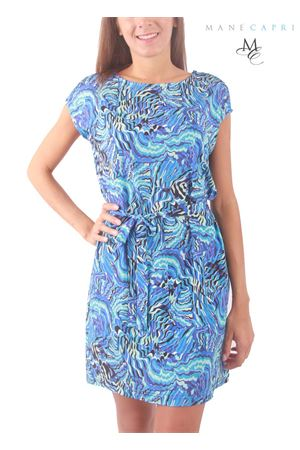 Elasticized jersey dress with Capri print Capri Chic | 5032262 | CLAUDIA DRESSBLU