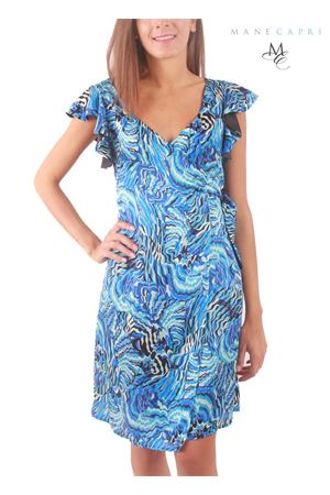 Silk wrap dress with trim on the shoulders Capri Chic | 5032262 | CLAUDIA VOLANTBLU