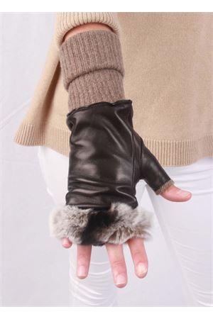 Guanti senza dita in pelle foderati in cachemere e lapin Capri Gloves | 34 | CG701NERO