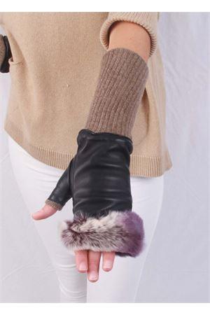 Guanti senza dita in pelle foderati in cachemere e lapin Capri Gloves | 34 | CG701VIOLA