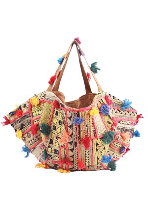 Borsa capiente  in camoscio con nappine decorative boho chic Christophe Sauvat | 31 | COTTON BIG BAGCHRISTOPHE