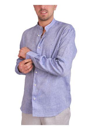 Camicia da uomo in lino azzurro con collo alla coreana Colori Di Capri | 6 | 7417AZZURRO