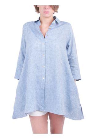 Camicia ampia in lino azzurro Colori Di Capri | 6 | COMFORT SVASATA 3/4AZZURRO