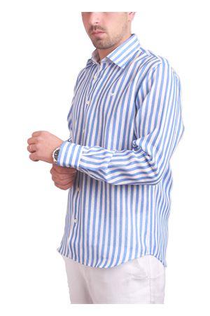 Camicia da uomo in lino a righe con fondo pois Colori Di Capri | 6 | FC367MCAZZURRO