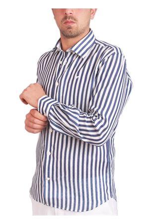 Camicia in puro lino a righe e pois Colori Di Capri | 6 | FC367MLBBLU