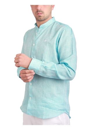 Camicia in lino con collo alla coreana Colori Di Capri | 6 | FC770MLTURCHESE