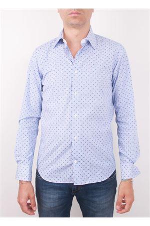 Camicia da uomo in cotone con teschi Colori Di Capri | 6 | HUTCHSLIM LIGHT BLUE