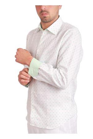 Camicia da uomo in lino con fantasia verde e turchese Colori Di Capri | 6 | JONNY503TURCHESE