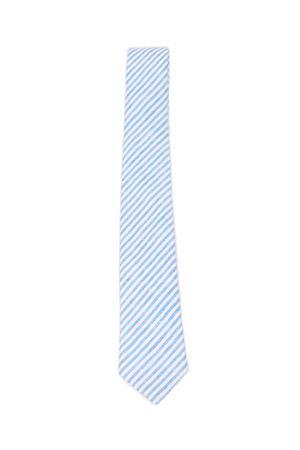 Cravatta 100%  lino Colori Di Capri | 25 | LINENTIEBIGSRIPEAZZURRO