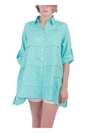 Turquoise linen shirt Colori Di Capri | 6 | MILUTURCHESE