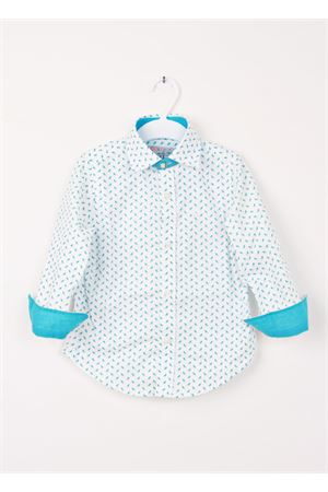 Baby cotton shirt with deckchairs pattern Colori Di Capri | 6 | SDRAIO BABYTURCHESE