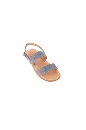 Denim double stripe Capri sandals for baby Cuccurullo | 5032256 | DOPPIA FASCIA DENIMAZZURRO