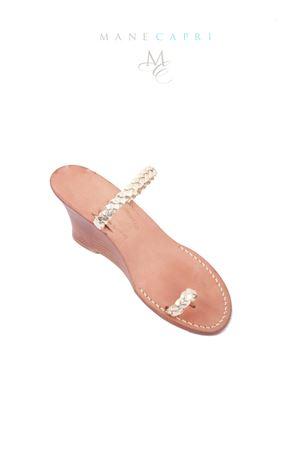Sandalo Caprese intrecciato con zeppa Cuccurullo | 5032256 | TRECCIA ZEPPAPLATINO