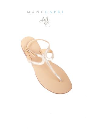 Platinum Capri sandals with ankle closure Da Costanzo | 5032256 | 2357/CPLATINO