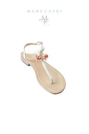 Handmade Capri sandals with Lucky Capri Bells Da Costanzo | 5032256 | CAPRI BELL REDROSSO/BIANCO
