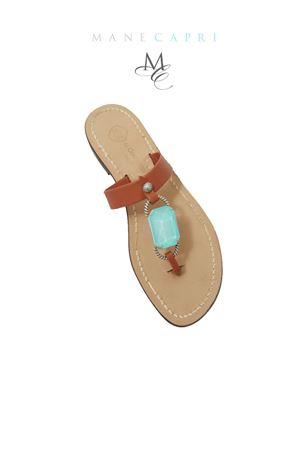 Sandali Capresi con pietra azzurra Da Costanzo | 5032256 | FASCIA BIG STONEMARRONE