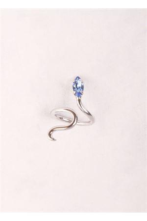 Anello in ottone cristallo azzurro Da Costanzo | 5032250 | SNAKE RING SILVERAZZURRO