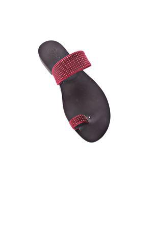 Sandalo in velluto rosso con strass Da Costanzo | 5032256 | VELLUTOROSSO