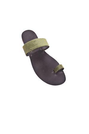 Sandalo in velluto verde con strass Da Costanzo | 5032256 | VELLUTOVERDE