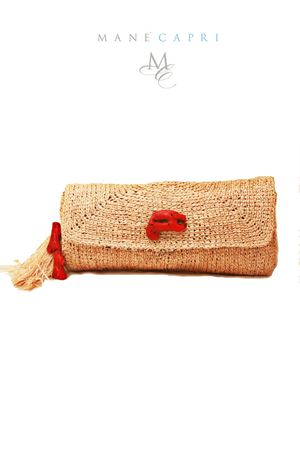 Clutch in paglia artigianale con corallo Grakko Fashion | 31 | CORAL BAGCLUTCH