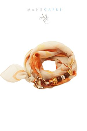 Silkj scarf with gold and brown stones Grakko Fashion | -709280361 | GRORARANCIO