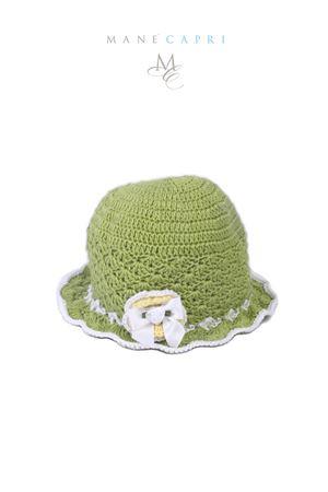 Cappello verde da neonata con fiore La Bottega delle Idee | 26 | C166AVERDE/BIANCO
