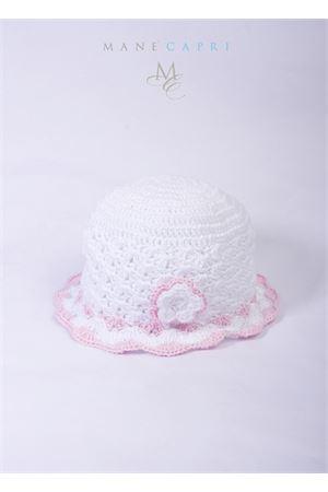 Cappelloo artigianale per neonata con fiorellino La Bottega delle Idee | 26 | C38ABIANCO/ROSA