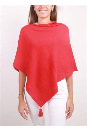 Poncho mantella rosso artigianale con pon pon La Bottega delle Idee | 52 | PBWOOLE53