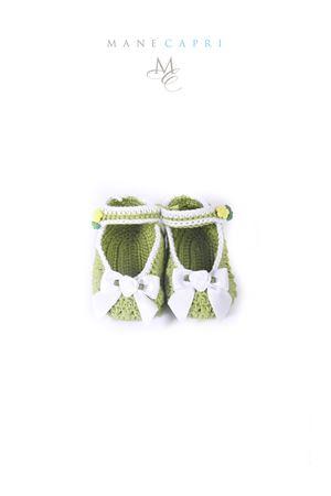 Baby embroidered shoes La Bottega delle Idee | 12 | S166VERDE/FIOCCO BIANCO