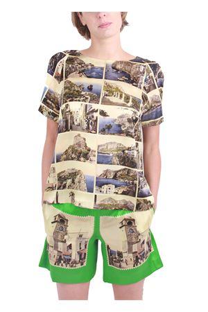 T-shirt sartoriale in seta Laboratorio Capri | 7 | TSHIRT CARTOLINE NEWBLU