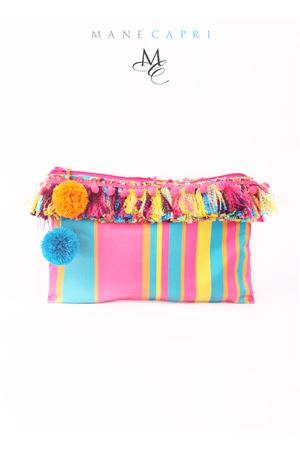 Boho chic clutch with decorative pom pom Manè Capri | 31 | BRIGITTEFUCSIA
