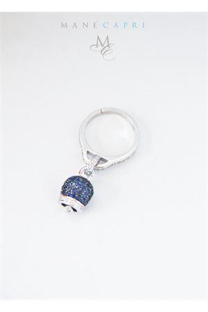 Adjustable silver ring with blue Capri bell charm Manè Capri | 5032250 | MANERINGZIRBLU