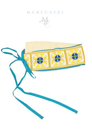 Cintura obi in lino con fantasia maiolica di Capri Manè Capri | 22 | OBI MAIOLICALINO