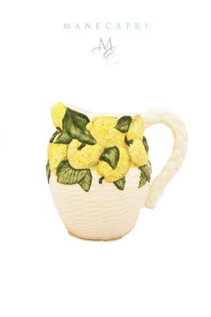 Brocca con fantasia vimini decorata con limoni di Capri Sea Gull Capri | 20000026 | BROCCA VIMINI LIMLIMONI LT1.5