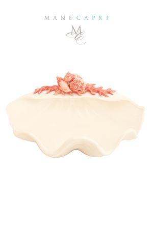 Piatto in ceramica a forma di conchiglia Sea Gull Capri | 20000026 | CONC CORALLO APPLICAZIONICM30X23