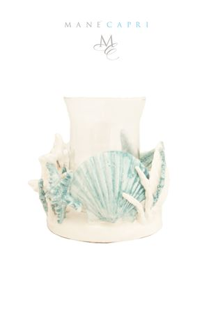 Ceramic and glass candle-holder Sea Gull Capri | 20000025 | P,CANEDELE 18X15CM 18X15