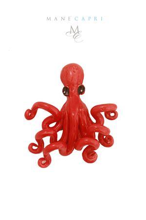 Polpo decorativo in ceramica Sea Gull Capri | 20000025 | POLIPO ROSSO PICCROSSO CM 16X14